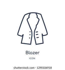 Linear blazer icon from Clothes outline collection. Thin line blazer vector isolated on white background. blazer trendy illustration