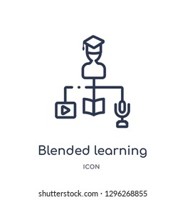 Linear blended learning icon from Elearning and education outline collection. Thin line blended learning icon vector isolated on white background. blended learning trendy illustration