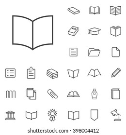 Linear book icons set. Universal book icon to use in web and mobile UI, book basic UI elements set