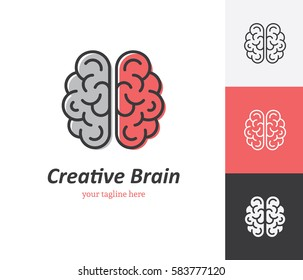 Linear brain icon in vector. Logo template