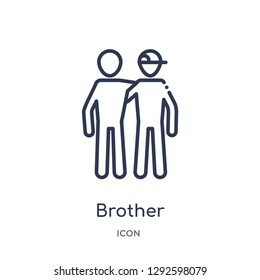Linear brother icon from Family relations outline collection. Thin line brother icon vector isolated on white background. brother trendy illustration
