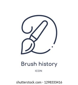 Linear brush history icon from General outline collection. Thin line brush history icon isolated on white background. brush history trendy illustration