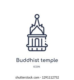Linear buddhist temple icon from Buildings outline collection. Thin line buddhist temple vector isolated on white background. buddhist temple trendy illustration