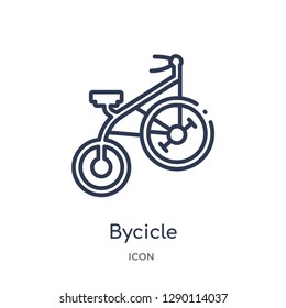 Linear bycicle icon from Circus outline collection. Thin line bycicle vector isolated on white background. bycicle trendy illustration