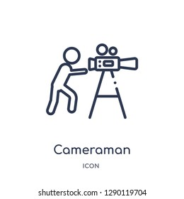 Linear cameraman icon from Cinema outline collection. Thin line cameraman vector isolated on white background. cameraman trendy illustration