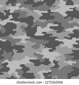 Linear camouflage seamless pattern. Abstract modern geometric digital texture background. Endless striped camo ornament. Vector illustration. - Vector