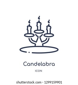 Linear candelabra icon from Magic outline collection. Thin line candelabra icon isolated on white background. candelabra trendy illustration