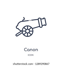 Linear canon icon from Army and war outline collection. Thin line canon vector isolated on white background. canon trendy illustration