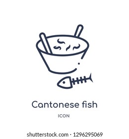 Linear cantonese fish icon from Culture outline collection. Thin line cantonese fish icon vector isolated on white background. cantonese fish trendy illustration