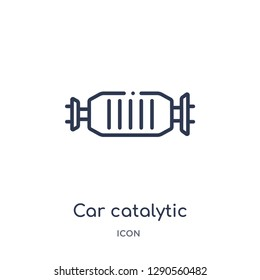 Linear car catalytic converter icon from Car parts outline collection. Thin line car catalytic converter vector isolated on white background. car catalytic converter trendy illustration