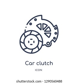 Linear car clutch icon from Car parts outline collection. Thin line car clutch vector isolated on white background. car clutch trendy illustration