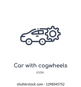 Linear car with cogwheels icon from Mechanicons outline collection. Thin line car with cogwheels icon isolated on white background. car with cogwheels trendy illustration