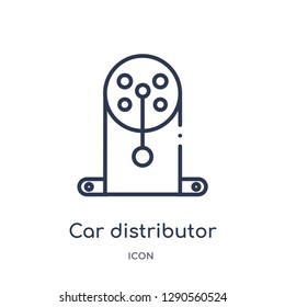 Linear car distributor cap icon from Car parts outline collection. Thin line car distributor cap vector isolated on white background. car distributor cap trendy illustration