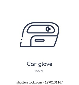 Linear car glove compartment icon from Car parts outline collection. Thin line car glove compartment vector isolated on white background. car glove compartment trendy illustration