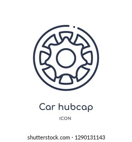 Linear car hubcap icon from Car parts outline collection. Thin line car hubcap vector isolated on white background. car hubcap trendy illustration