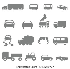 Linear car icons set. Universal car icon to use in web and mobile UI, car basic UI elements set.Transport icons