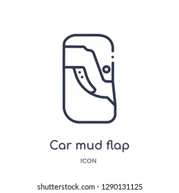 Linear car mud flap icon from Car parts outline collection. Thin line car mud flap vector isolated on white background. car mud flap trendy illustration