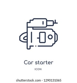 Linear car starter icon from Car parts outline collection. Thin line car starter vector isolated on white background. car starter trendy illustration