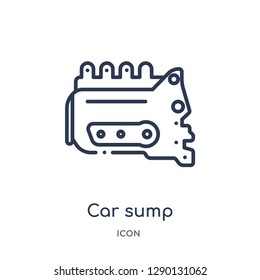 Linear car sump icon from Car parts outline collection. Thin line car sump vector isolated on white background. car sump trendy illustration