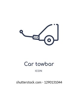 Linear car towbar icon from Car parts outline collection. Thin line car towbar vector isolated on white background. car towbar trendy illustration