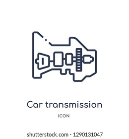 Linear car transmission icon from Car parts outline collection. Thin line car transmission vector isolated on white background. car transmission trendy illustration