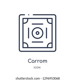 Linear carrom icon from Entertainment outline collection. Thin line carrom icon isolated on white background. carrom trendy illustration