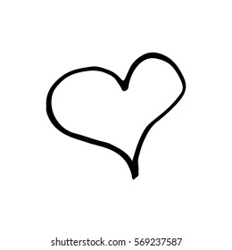 Linear cartoon hand drawn heart. Cute vector black and white heart doodle. Isolated monochrome heart object on white background.