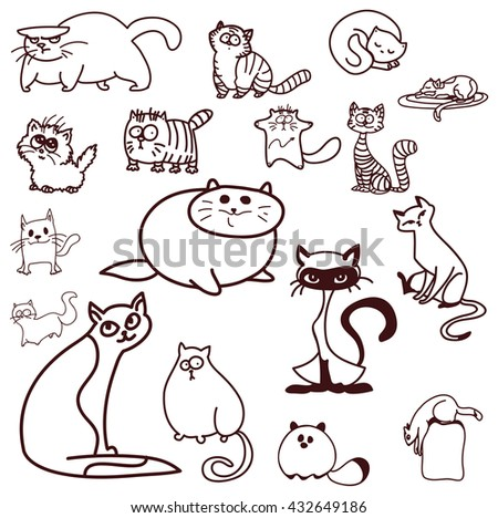 linear cat different cat poses fun 스톡 벡터사용료 없음 432649186