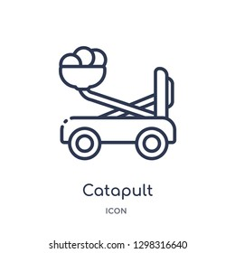 Linear catapult icon from Miscellaneous outline collection. Thin line catapult icon isolated on white background. catapult trendy illustration