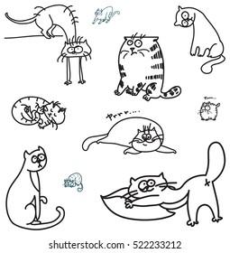 Linear cats. Doodle cartoon cats.