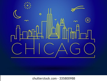Linear Chicago City Silhouette with Typographic Design