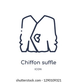 Linear chiffon suffle blouse icon from Clothes outline collection. Thin line chiffon suffle blouse vector isolated on white background. chiffon suffle blouse trendy illustration