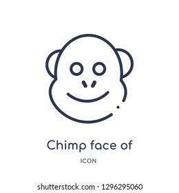 Linear chimp face of brazil icon from Culture outline collection. Thin line chimp face of brazil icon vector isolated on white background. chimp face of brazil trendy illustration