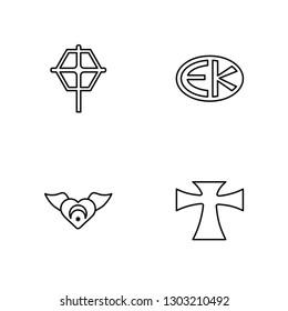 Linear Christian Reformed Church, Sufism, Eckankar, Greek Cross Vector Illustration Of 4 outline Icons. Editable Pack Of Christian Reformed Church, Sufism, Eckankar, Greek Cross