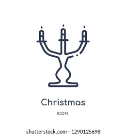 Linear christmas candelabra icon from Christmas outline collection. Thin line christmas candelabra vector isolated on white background. christmas candelabra trendy illustration