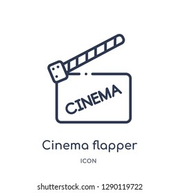 Linear cinema flapper icon from Cinema outline collection. Thin line cinema flapper vector isolated on white background. cinema flapper trendy illustration