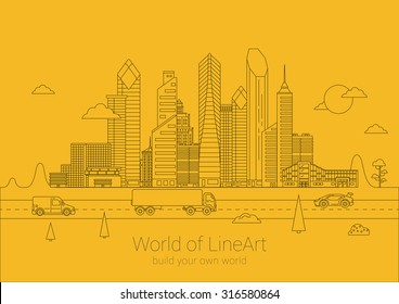 Linear cityscape Business Skyscrapers poster design vector template. Line art Commercial property City life Banner idea. Linear outline Real Estate concept.