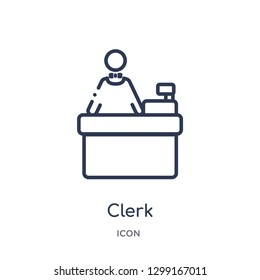 Linear clerk icon from Job profits outline collection. Thin line clerk icon isolated on white background. clerk trendy illustration