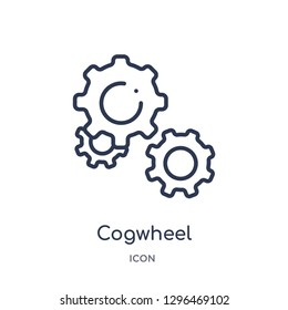 Linear cogwheel icon from Creative process outline collection. Thin line cogwheel icon vector isolated on white background. cogwheel trendy illustration