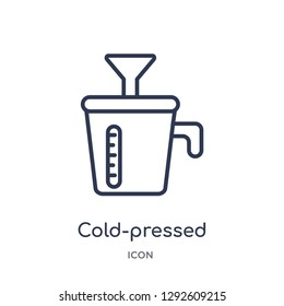 Linear cold-pressed juicer icon from Electronic devices outline collection. Thin line cold-pressed juicer icon vector isolated on white background. cold-pressed juicer trendy illustration