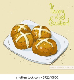 Linear colored sketch of the easter hot cross buns on the plate with green text Happy Easter. Hand drawn vintage vector illustration with lettering happy easter on the textured beige paper background.