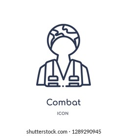 Linear combat icon from Army and war outline collection. Thin line combat vector isolated on white background. combat trendy illustration
