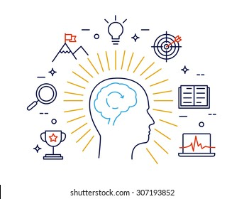 Linear concept of human mind process, human brain thinking and opportunities. Modern vector concept