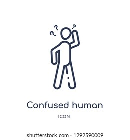 Linear confused human icon from Feelings outline collection. Thin line confused human icon vector isolated on white background. confused human trendy illustration