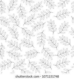 Linear contour style. Leaves on white background. Seamless pattern. Vector Leaf pattern background