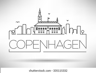 Linear Copenhagen City Silhouette with Typographic Design