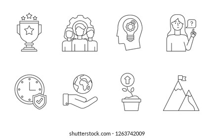 Linear Core values icon set with team, quality, innovations, customers, reliability, responsibility and growth concepts isolated on white background.