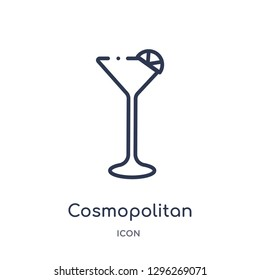 Linear cosmopolitan icon from Drinks outline collection. Thin line cosmopolitan icon vector isolated on white background. cosmopolitan trendy illustration
