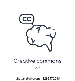 Linear creative commons icon from Content outline collection. Thin line creative commons icon vector isolated on white background. creative commons trendy illustration