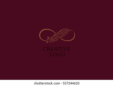 Linear creative logo, infinity sign and Feather